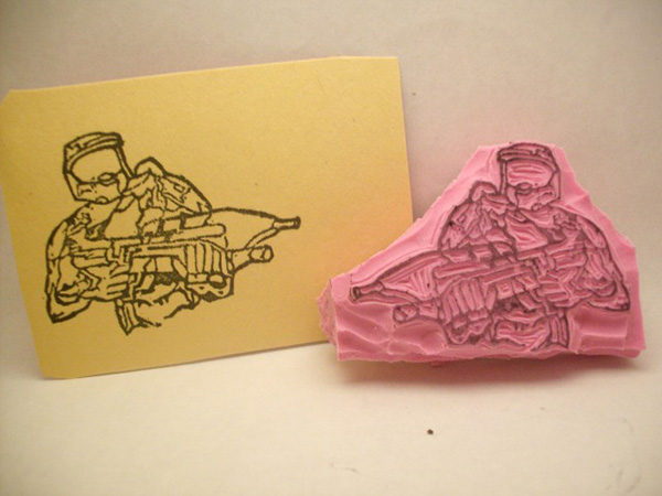 master chief halo rubber stamp