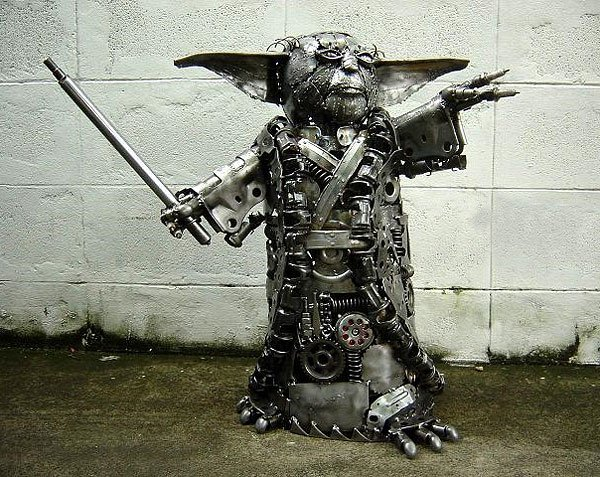 metal yoda sculpture