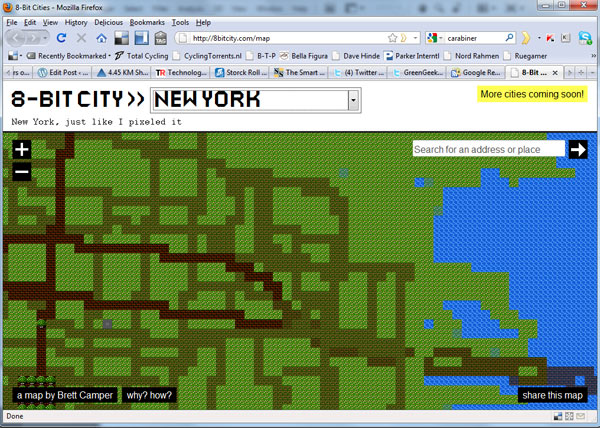 8-bit cities new york city maps