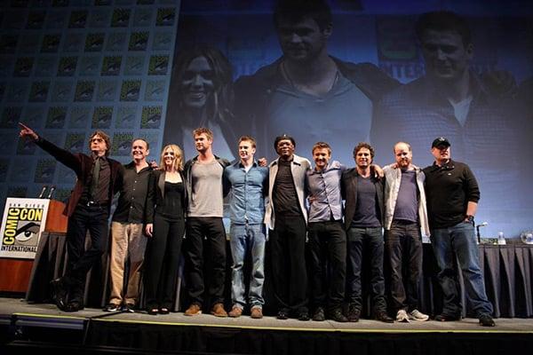 avengers cast at comic con