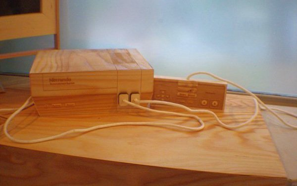 nintendo wooden sculpture