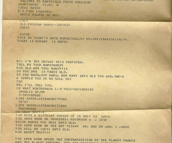 Letter From Univac