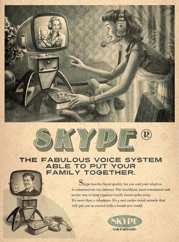 vintage ad facebook skype youtube