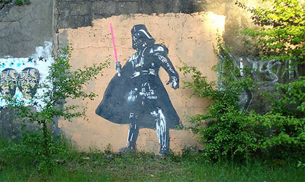 star wars graffiti art street darth vader