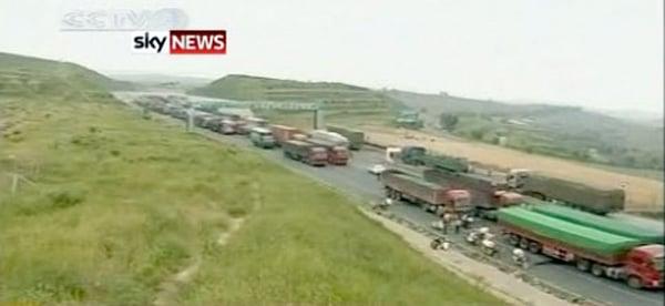 china beijing traffic jam trucks