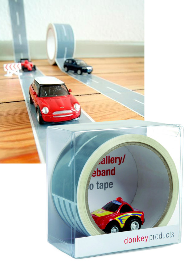 my first autobahn tape turns any surface into a race track technabob. Black Bedroom Furniture Sets. Home Design Ideas