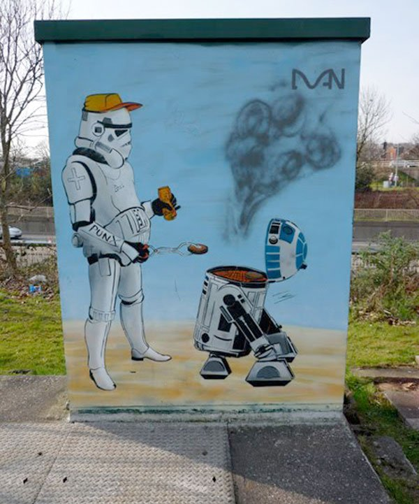 r2 d2 stormtrooper graffiti