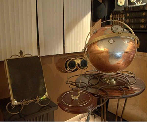Steampunk Globe and Newfangled iPad Control Google Earth