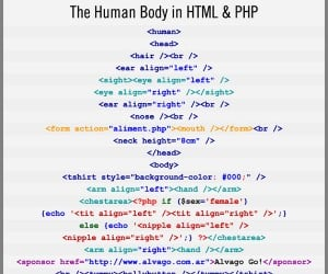 The Human Body in Html and PHP