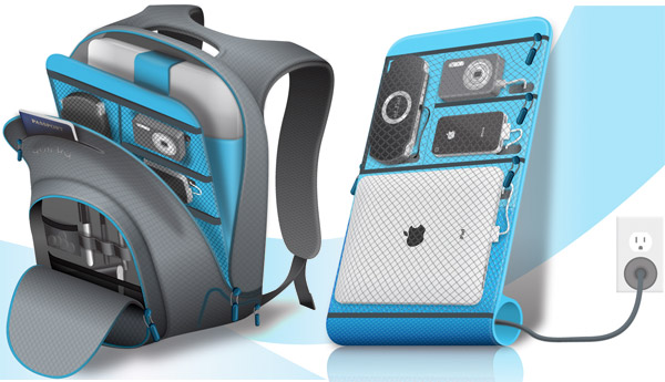 quirky trek backpack gadget charger
