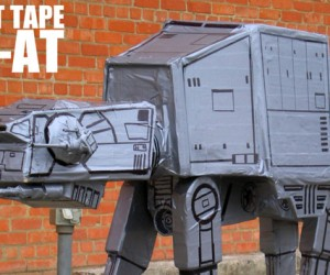 Duct Tape, Cardboard and Sharpie at-at: Awesome.