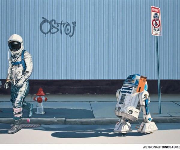 R2-D2 Gets a Parking Ticket From an Astronaut