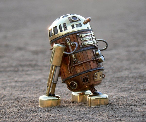 Steampunk R2-D2: Brass, Glass and Wood Droid