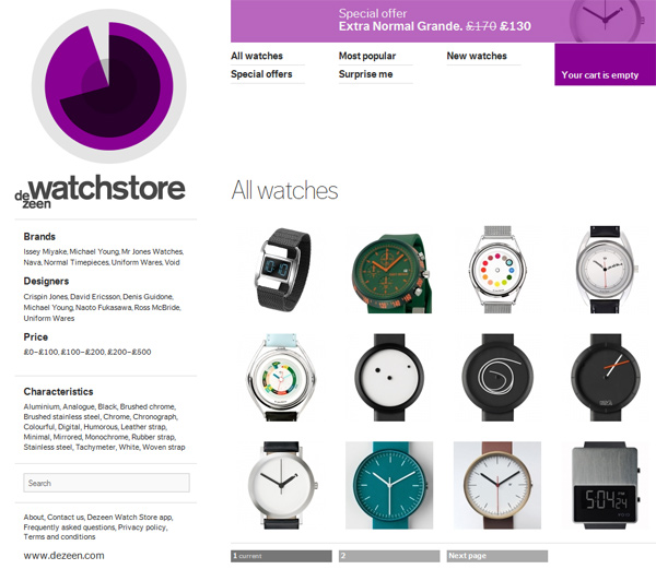watches dezeen designer store website