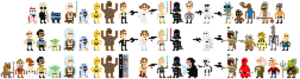 and rash star wars pixel art characters