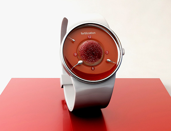 sperm watch timepiece fertilization concept