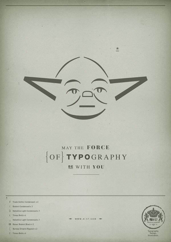 star wars h-57 ad campaign typography fonts