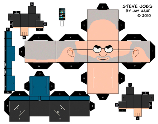 steve jobs papercraft christmas ornament tree
