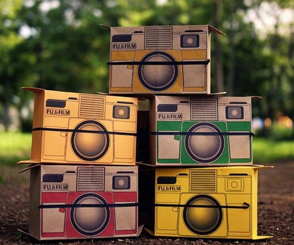 Cardboard Polaroid Camera Concept: 2 Pics, 1 Shot