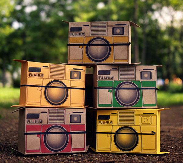 flutter in pinhole cardboard polaroid camera concept