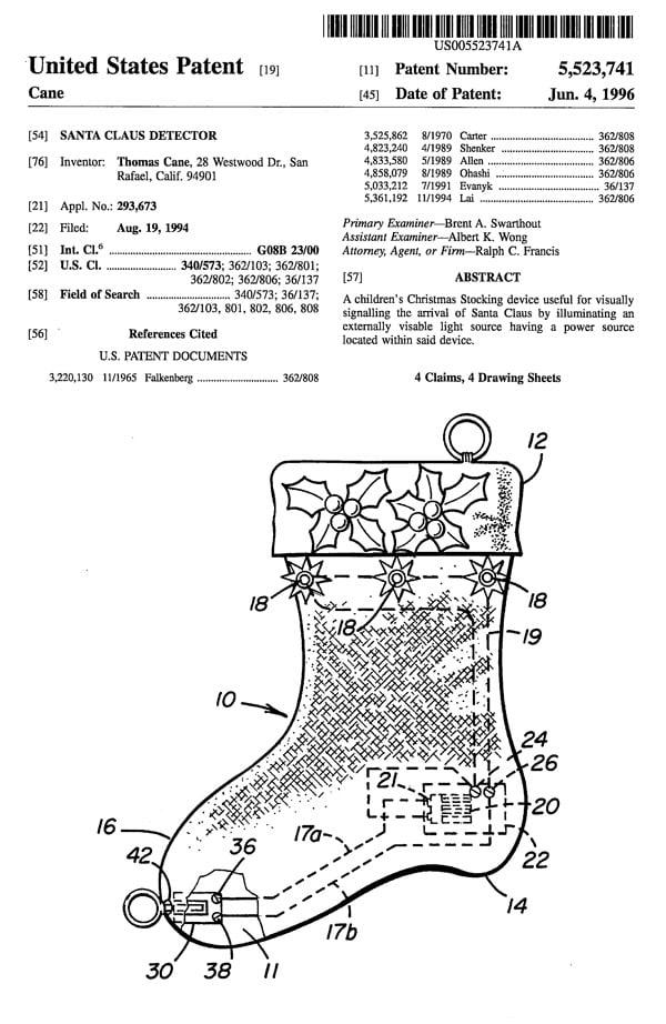 santa claus patent 1
