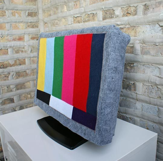 felt test pattern tv cover hdtv diy