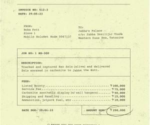 Boba Fett's Invoice: No Taxes?