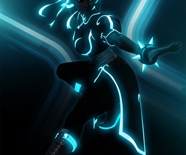 Street Fighter + TRON = Nerdgasm
