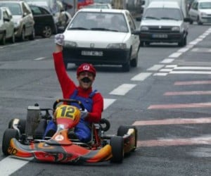 French Dude Plays Mario Kart in Real Life