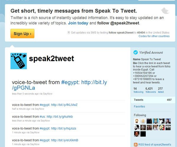 Google Works Around Egyptian Government with speak2tweet