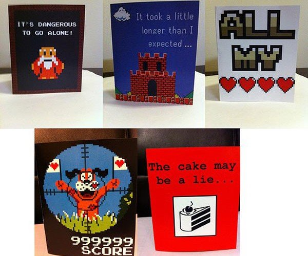 video game themed valentine cards by PaperRockScisorz