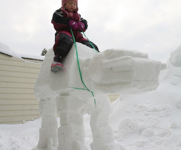 AT-AT Snow Sculpture Holds Up to Little Kids, But Not a Rebel Attack