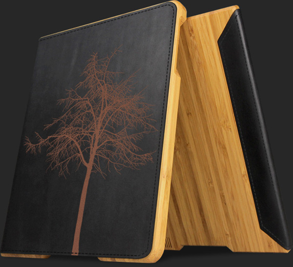 grove bamboo ipad 2 case wood leather smart cover