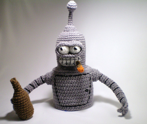 bender futurama toque knit crochet fun