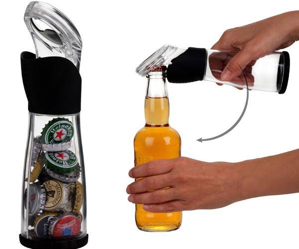 Bottle Cap Catcher Opens Bottles, then Plays Catch with Caps