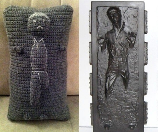 Han Solo Carbonite Throw Pillow Looks Like a Hutt Voodoo Doll