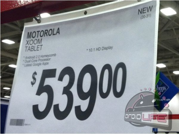 motorola xoom tablet sams club price
