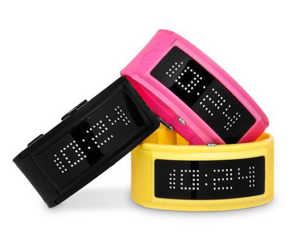 neon led guru black dice watch timepiece japanese