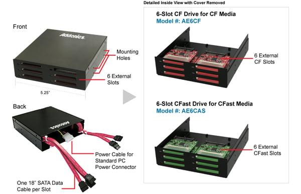 addonics 6 slot cf and cfast drives