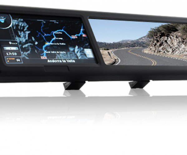 Rear-View Mirror With GPS, Bluetooth, Multimedia Playback and Touchscreen Games (aka the We're Going to Die Mirror)