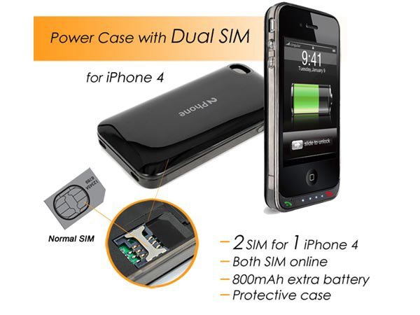 dual sim battery pack for iphone 4 from usb fever