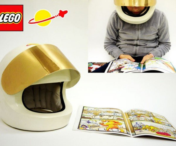 Wearable LEGO Minifig Helmet Streams Audio Comics