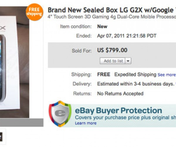 Early Release T-Mobile LG G2x Sold on eBay for $799