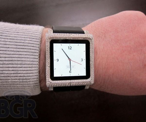 ZShock Diamond-Encrusted LunaTik iPod Nano Watch for Wealthy Geeks