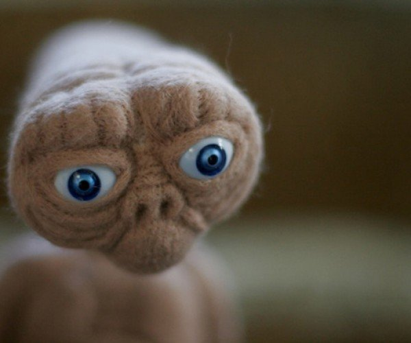 Needle Felted E.T. Phones Home