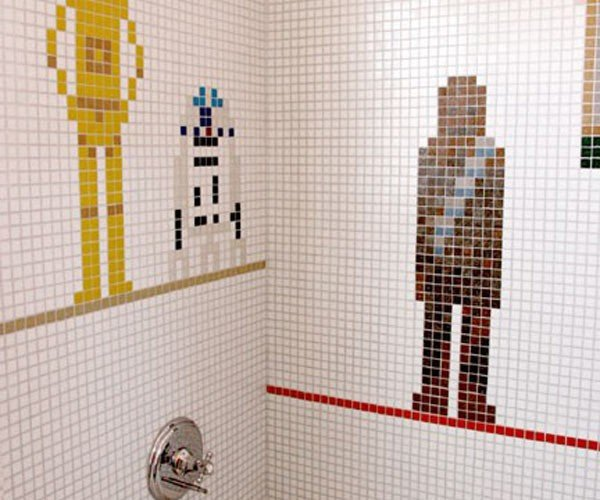 Star Wars Bathroom Tile Mosaic Watches You C-3Pee-O-ing and Going Number R2-D2