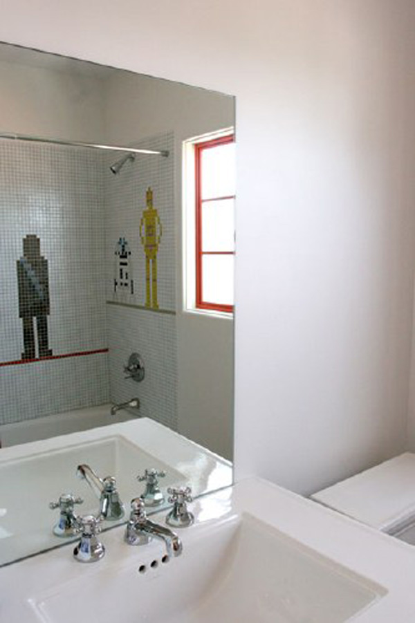 star wars mosaic bathroom tile retro cool