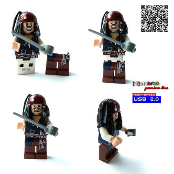 jack sparrow pirates usb lego minifig flash drive