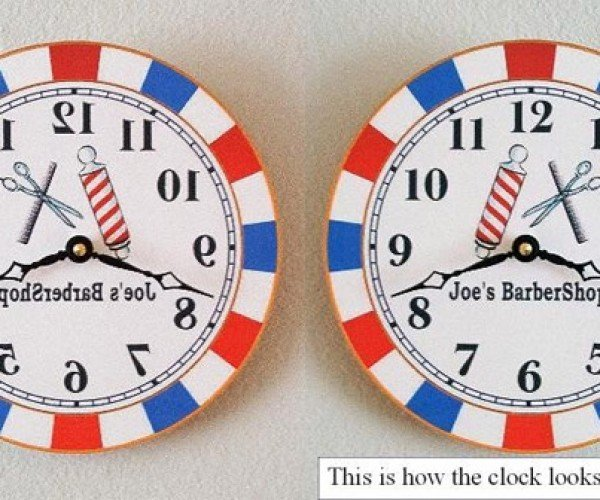 Barbershop Mirror Clock Makes Telling the Time Easier When You're Getting A Haircut