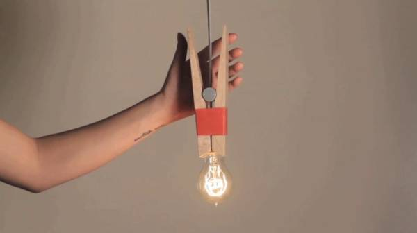 Clothespin Light Bulb